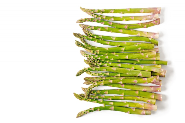 Background from isolated on white background asparagus. top view Free Photo