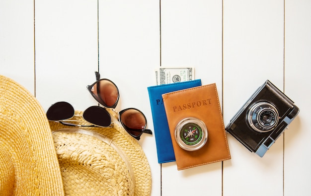 Background journey. sea tour, items. selective focus. Premium Photo
