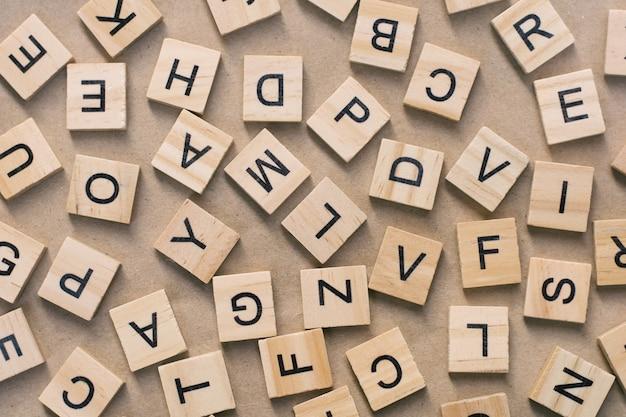 Background of  letterpress wood type printing blocks, random letters of alphabet Premium Photo