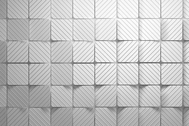 Background made of white squares with wavy grooves Premium Photo
