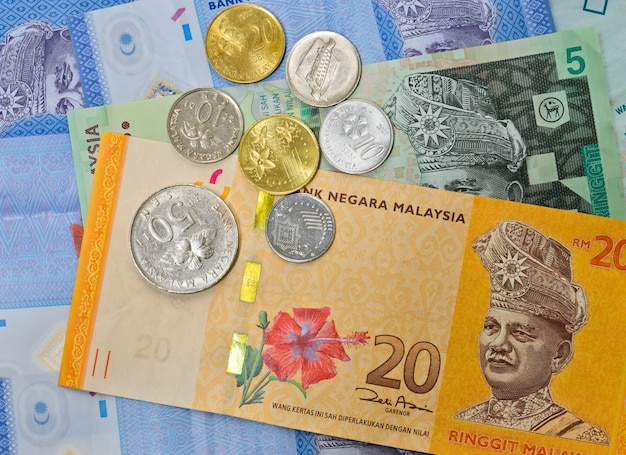 Background of malaysian currency Premium Photo