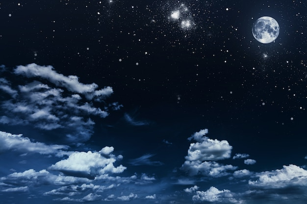 Background night sky with stars and moon Premium Photo