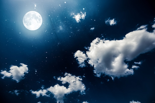 Background night sky with stars and moon. Premium Photo