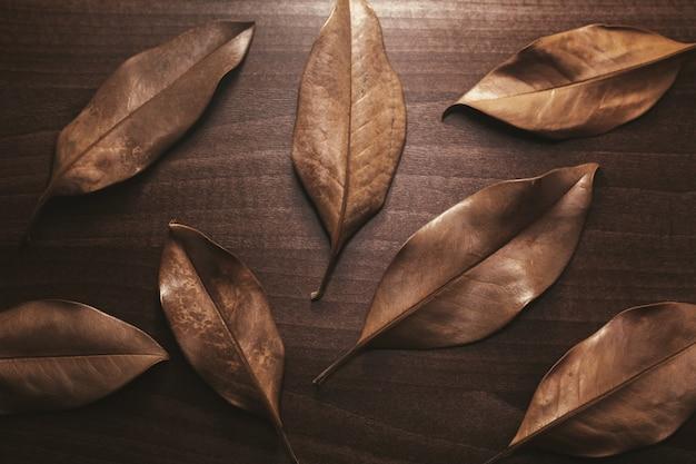 木製のテーブルの乾燥した茶色の葉の背景 Premium写真