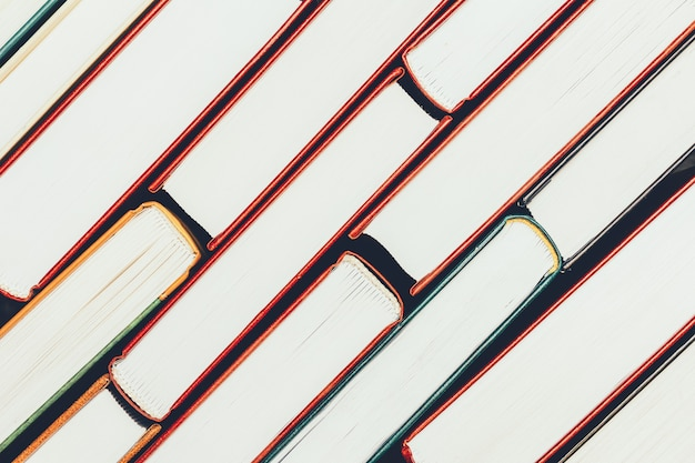 本のスタックの背景エッジページの上面図 Premium写真
