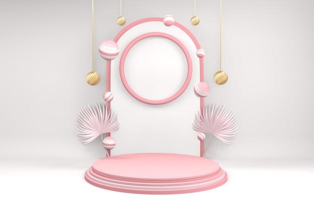 Фон продукты валентина подиум в платформе любви, валентина розовый подиум минимальный дизайн .3d рендеринг Premium Фотографии