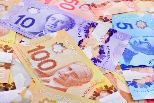 Background shot of canadian banknotes Premium Photo