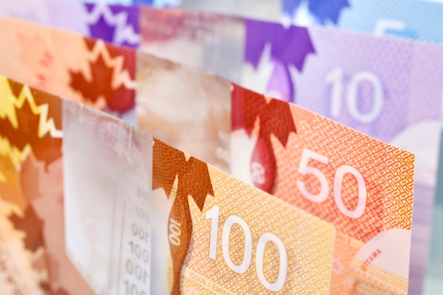 Background shot of canadian banknotes Premium Photo