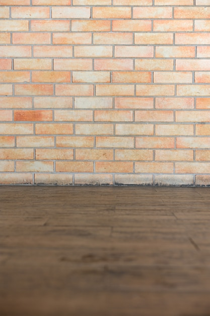 Background of texture brown brick and wooden floor Premium Photo