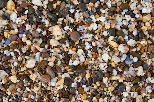 Background texture of wet multicolored stones on the beach. Premium Photo