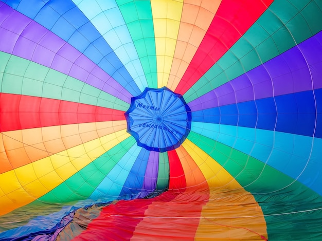 A background with an abstract view of a colorful parachute. Premium Photo