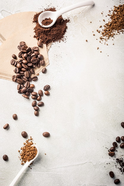 Background with assorted coffee Premium Photo