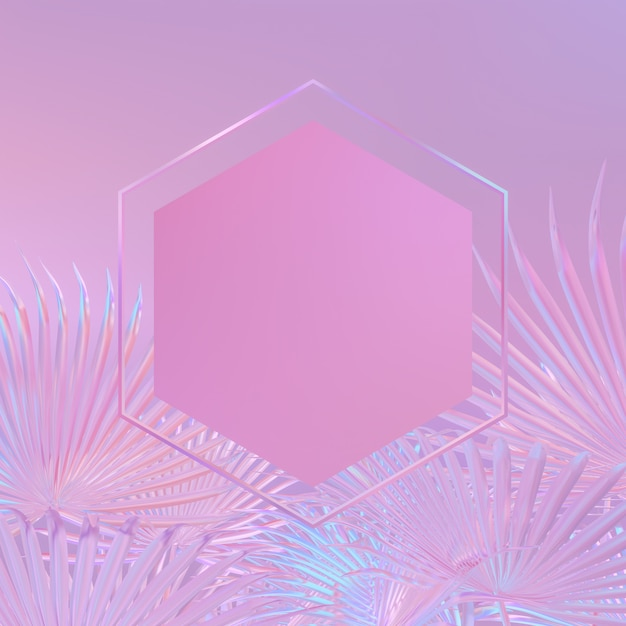 Background with hexagon frame on a tropical leaves. holographic iridesence texture. pink neon light. Premium Photo
