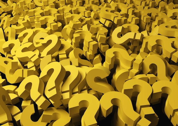 Background yellow question marks Premium Photo