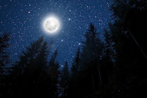 星と月と雲と背景夜空。 nasaによって提供されたこの画像の要素 Premium写真