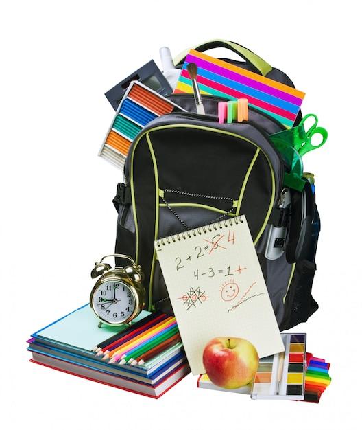 Backpack full of school supplies Premium Photo