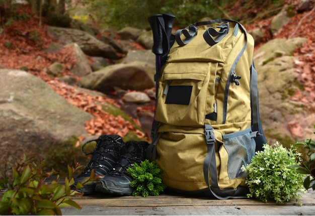 Backpack hiking with boots of mountain Premium Photo