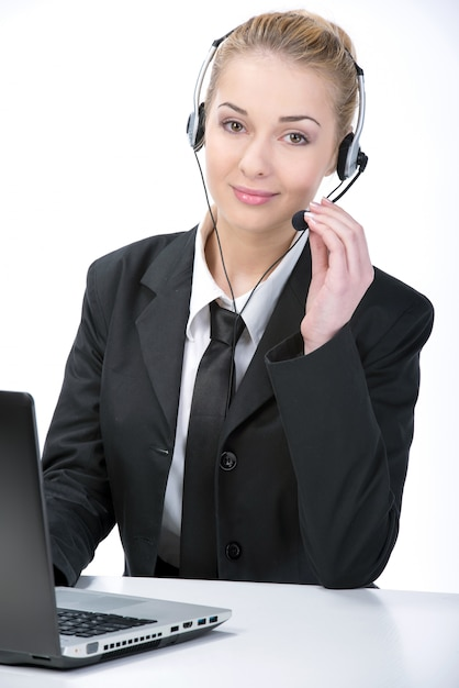 白backroundの女性カスタマーサービスワーカー。 Premium写真