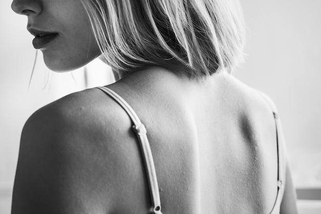 Backside portrait of caucasian woman Free Photo