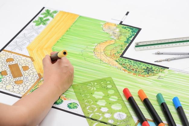 Backyard garden and pato design plan. Premium Photo