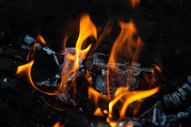 Backyard outdoor fireplace full of burning embers Free Photo