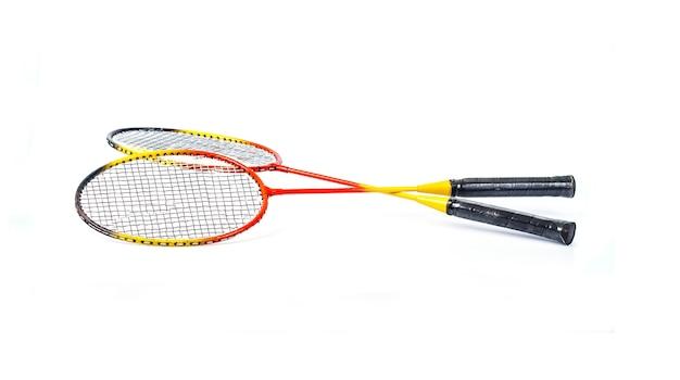 Badminton racket on white background Premium Photo