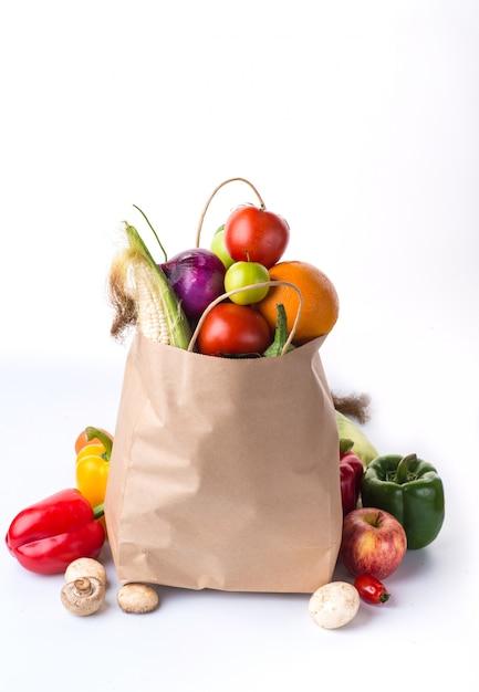 야채가 가득한 가방 무료 사진