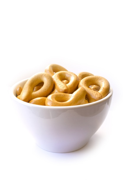 Bagels in a plate, white background Premium Photo