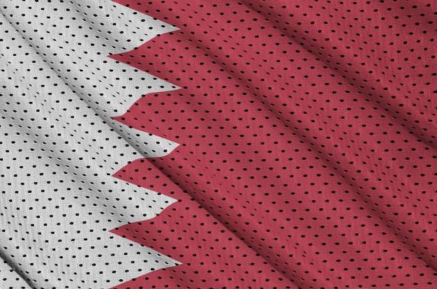 Bahrain flag printed on a polyester nylon mesh Premium Photo