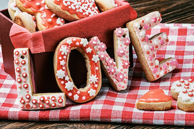 Baked cookies with the word love Premium Photo