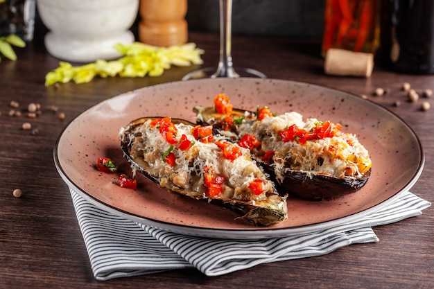 Baked eggplants with meat and vegetables. Premium Photo