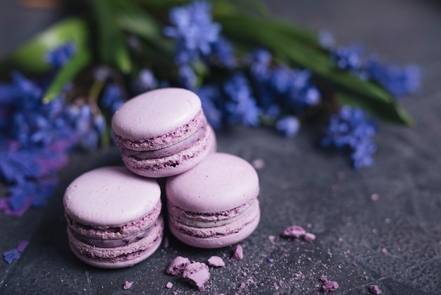 Baked macaroons and eclairs near the decorative vase on black background Free Photo