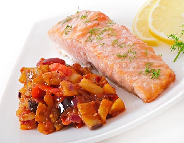 Baked salmon with vegetables ratatouille Free Photo