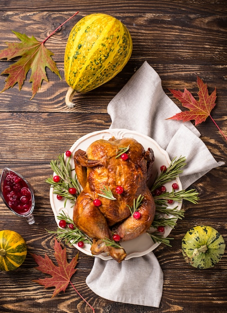 Baked turkey or chicken for holiday Premium Photo
