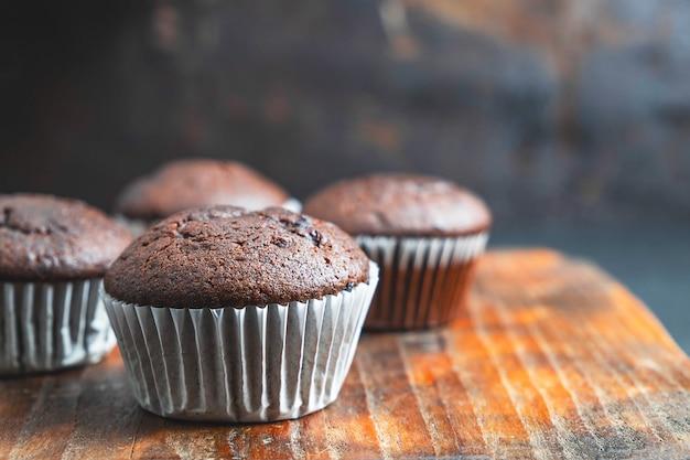 Bakery chocolate cupcakes Premium Photo