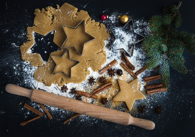 Baking ingredients for christmas holiday traditional gingerbread cookies preparation Premium Photo