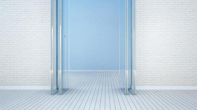 Balcony and empty room on white tone - 3d rendering Photo | Premium