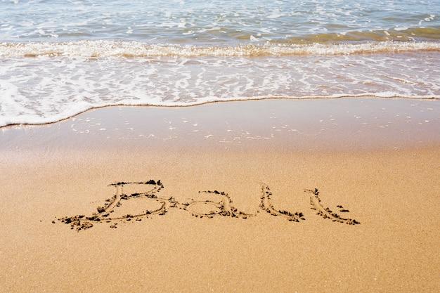 波と泡で熱帯の砂浜でバリの碑文 Premium写真