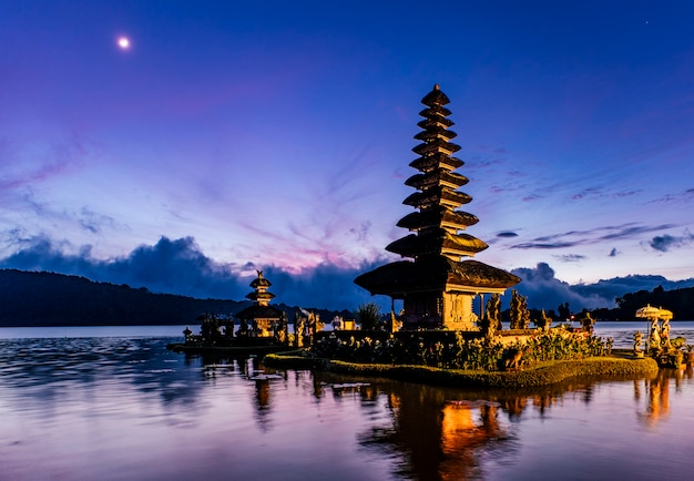 Bali pagoda in sunrise, indonesia Free Photo