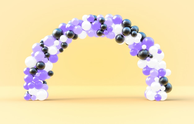Balloon arch frame with. 3d rendering. Premium Photo