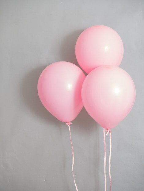 Balloons pink color pastel for party time Premium Photo