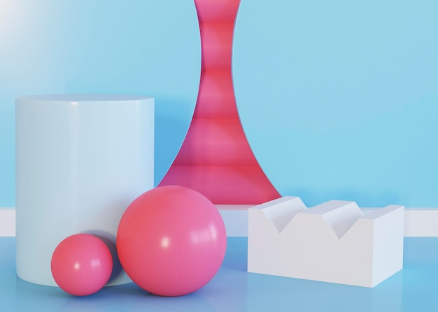 Balls and abstract geometric shapes background Free Photo