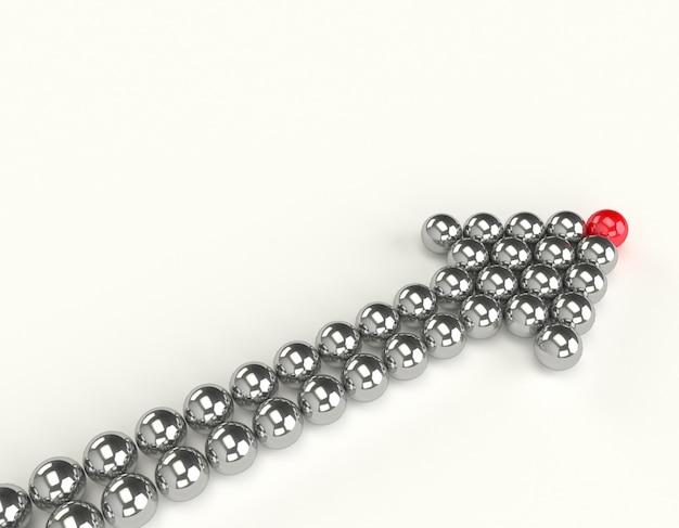 白で隔離される矢印の形のボール。リーダーシップの概念。 Premium写真