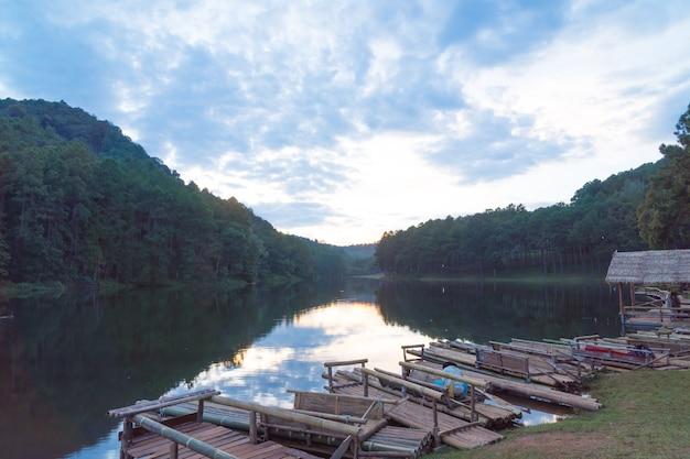 Bamboo raft in lake. Premium Photo