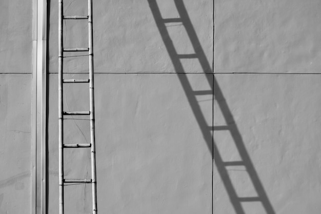 Bamboo staircase with shadow on cement wall Premium Photo