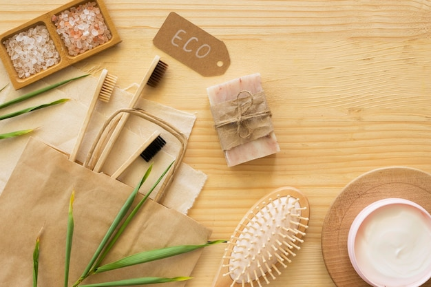 Bamboo toothbrushes and soap top view Free Photo