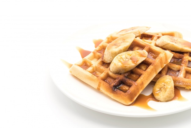 Banana waffle with caramel Premium Photo