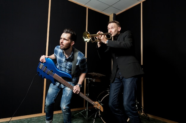 Band in studio Free Photo