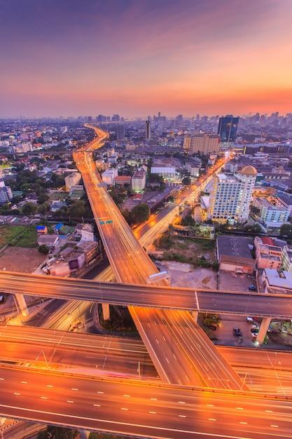 Bangkok expressway and highway top view, thailand Premium Photo