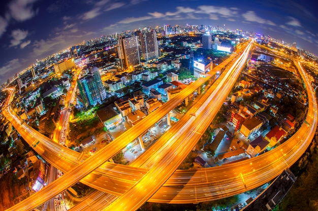 Bangkok expressway and highway top view, thailand Premium Photo